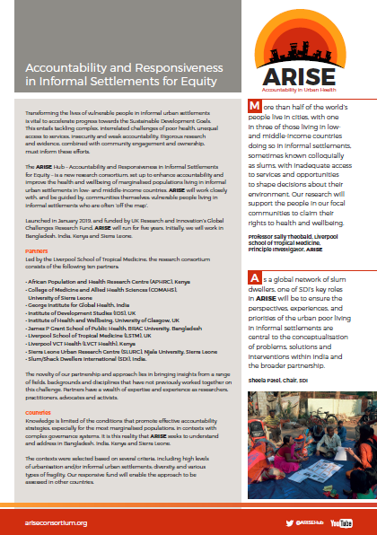 The cover of the ARISE leaflet