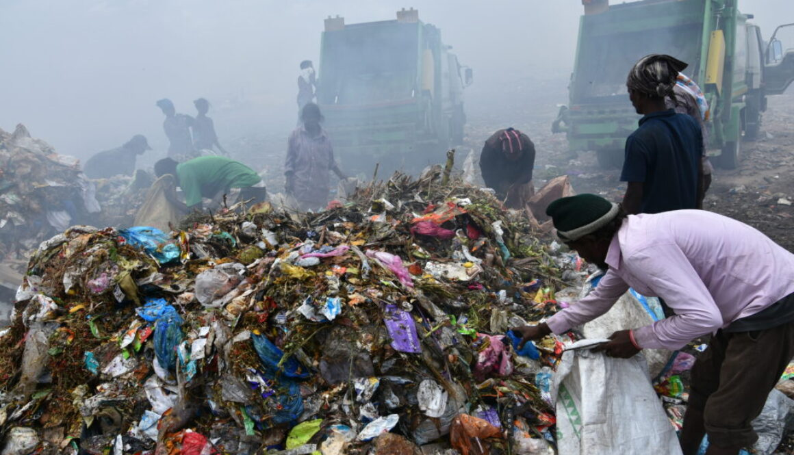Piles of plastic on a dump site